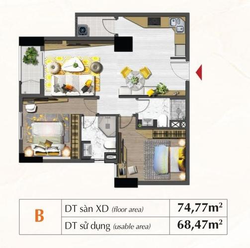 Mặt bằng căn hộ Căn hộ Saigon South Residence tầng 24 diện tích 74.77m2, đầy đủ nội thất.