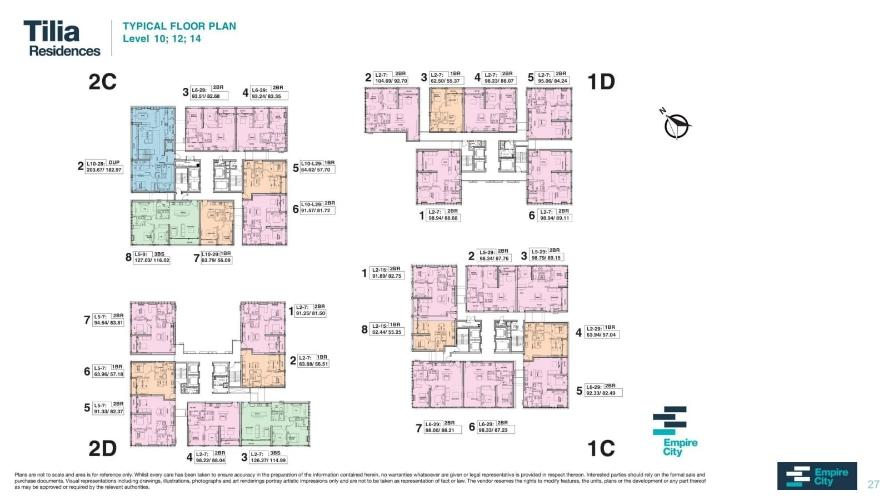 Layout tầng căn hộ Empire City, Quận 2 Căn hộ cao cấp Empire City tầng 14 thiết kế 2 phòng nugr, nội thất cơ bản.