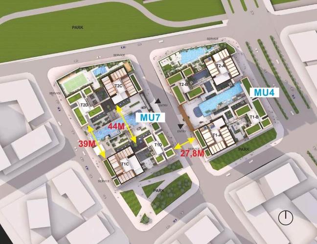 Mặt bằng tầng căn hộ Empire City, Quận 2 Căn hộ Empire City tầng 14 thiết kế 3 phòng ngủ, nội thất cơ bản.