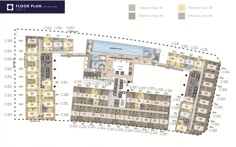 Layout tầng căn hộ The Metropole Thủ Thiêm, Quận 2 Căn hộ The Metropole Thủ Thiêm tầng thấp tiện di chuyển, đầy đủ nội thất.